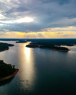 Aerial view of Lake Hartwell from Big Water Marina