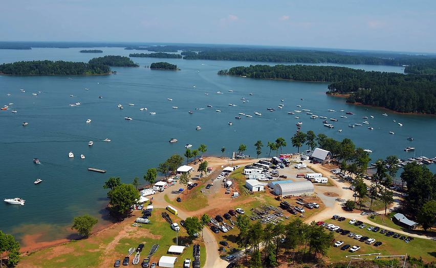 Aerial View of Lake Hartwell during Poker Run at Big Water Marina