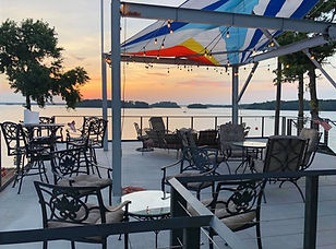 Bar and Grill Patio Deck with Sunset View Over Lake Hartwell