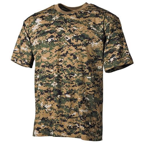 US T-Shirt, halbarm, digital woodland, 170 g/m²