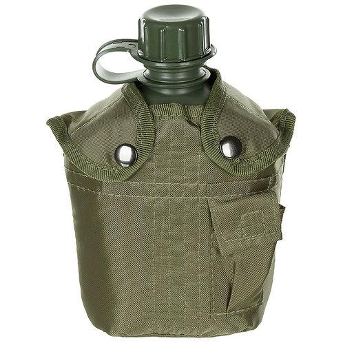 US Plastikfeldflasche, 1 l, Hülle, oliv, BPA-frei