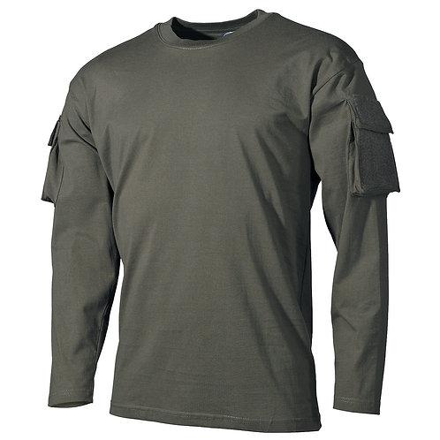 US Shirt, langarm, oliv, mit Ärmeltaschen