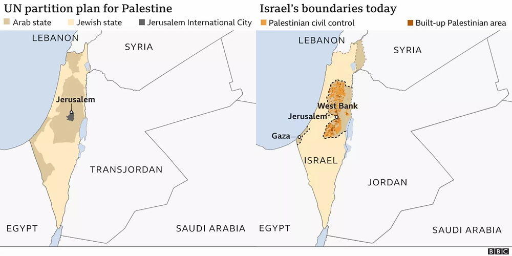 UN partition plan for Palestine in 1947 compared with Israel's boundaries today.