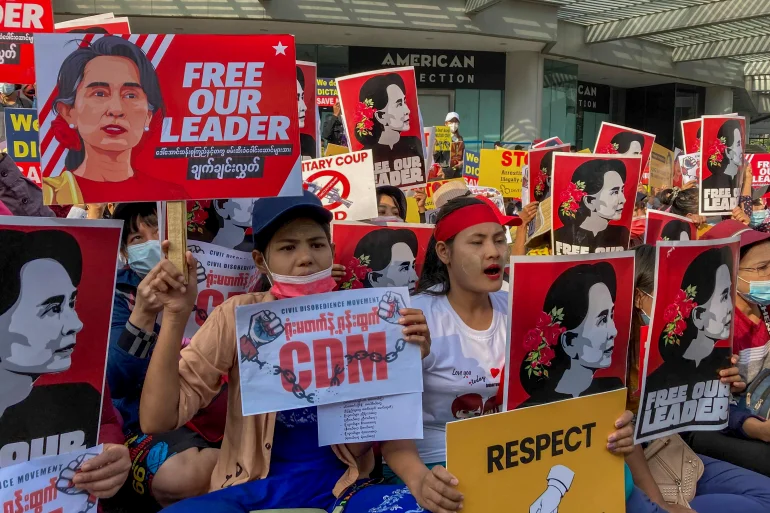 Demonstrators in Myanmar