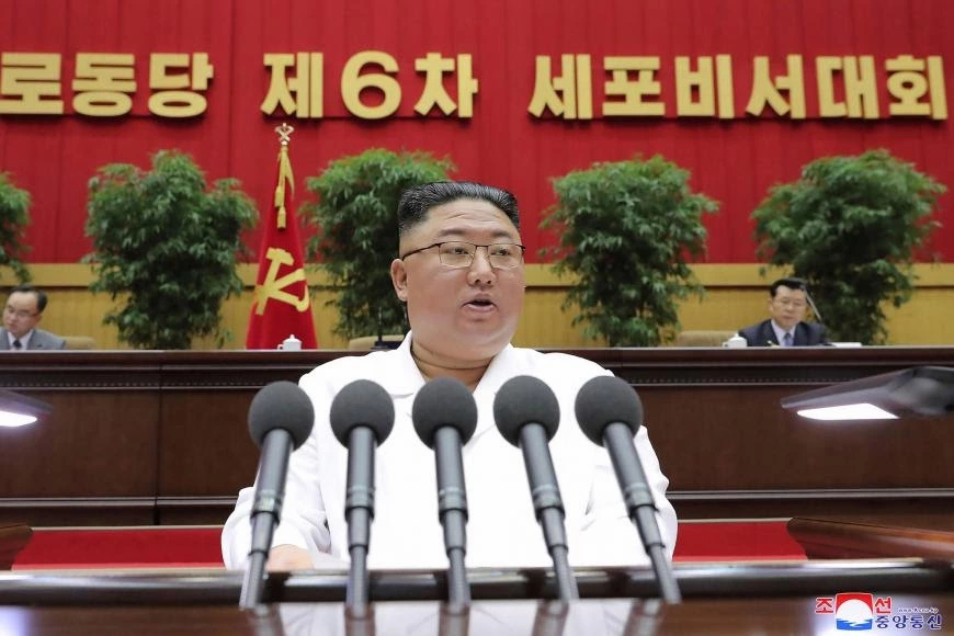 Kim Jong-Un delivering a closing speech at Sixth Conference.