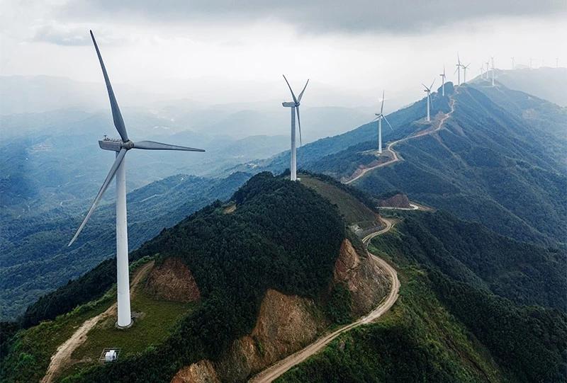A wind farm near Heyuan City in Guangdong, China.