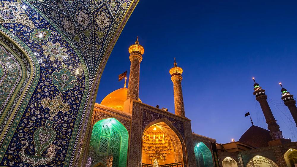 A stunning view of the Fatima Masumeh Shrine in Qom city, Iran.