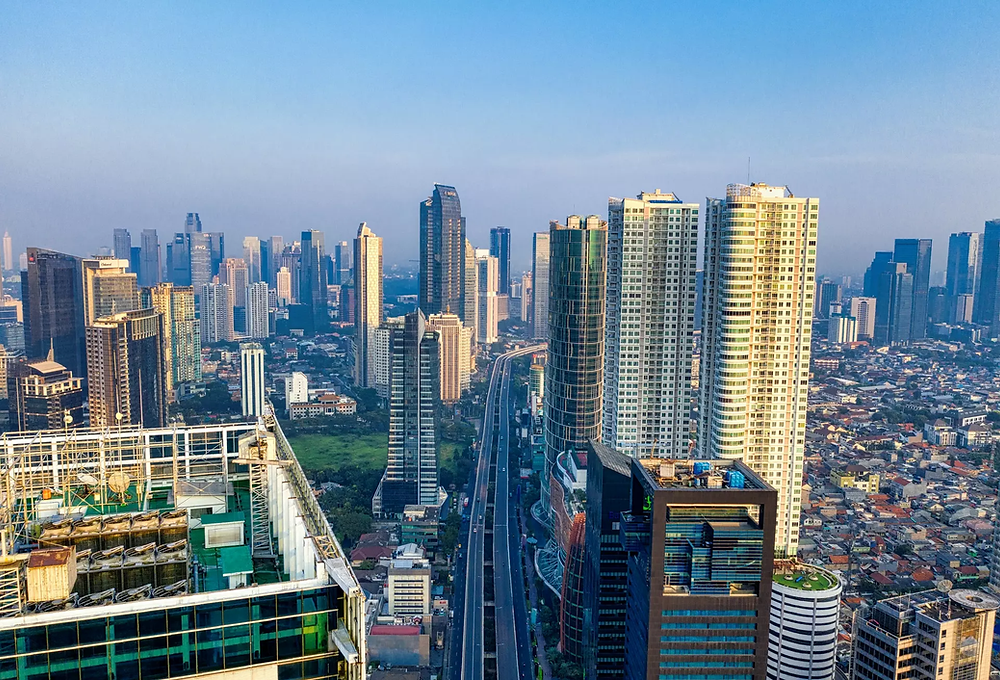 Aerial view of cityscape, Indonesia.
