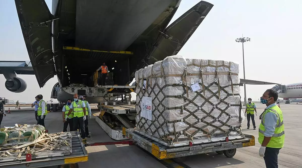 Medical aid from the US arriving at New Delhi, India.