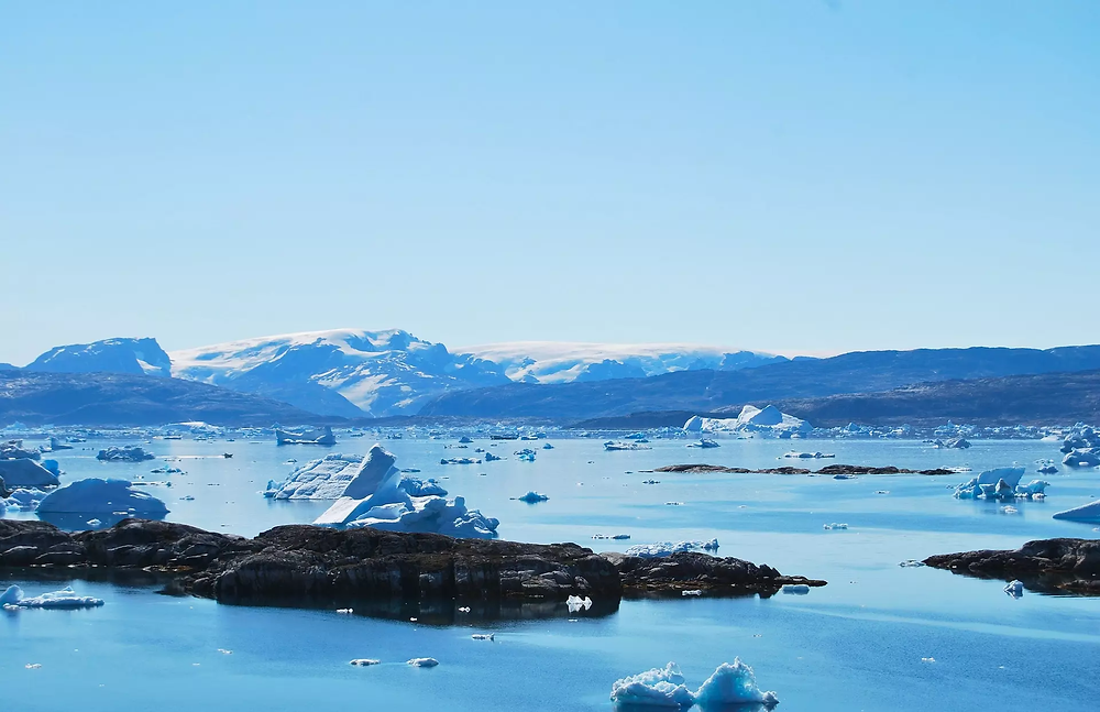 Molten and scattered icebergs in Tiniteqilaaq, Greenland.