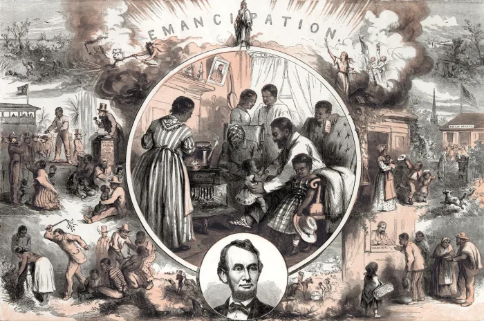An illustration of life before and after emancipation by Thomas Nast.