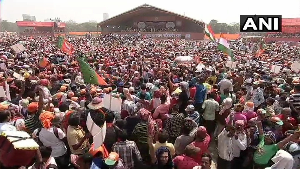 Thousands of supporters in Prime Minister Narendra Modi's public rally in West Bengal this March.