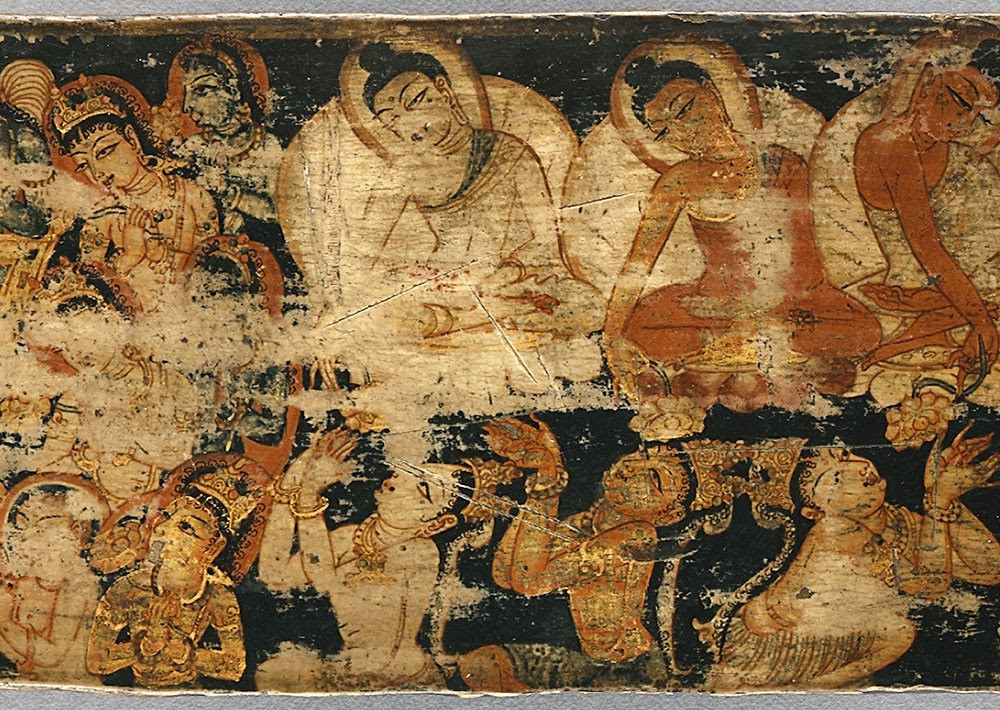 Painted book cover of ancient Kashmir: Eastern - Nepali birch bark composition.