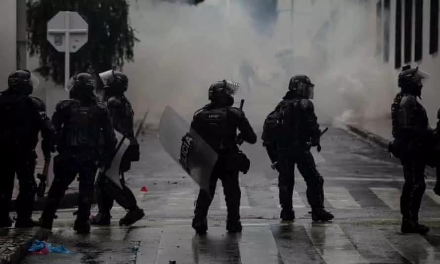 Riot police during demonstrations in Bogota.