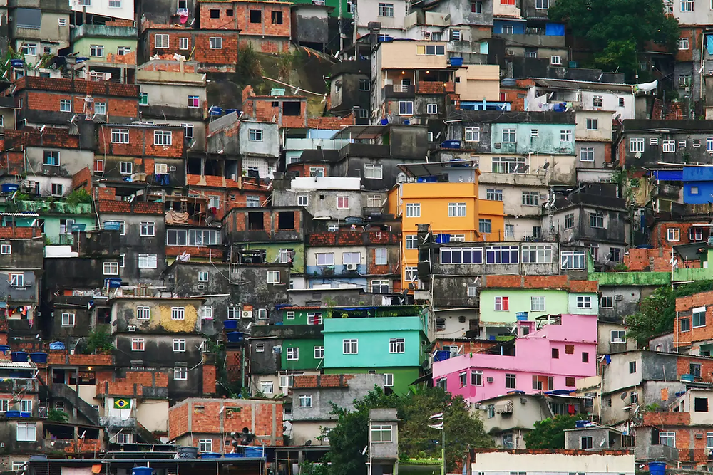 An impoverished residential area of Rio de Janeiro, Brazil.