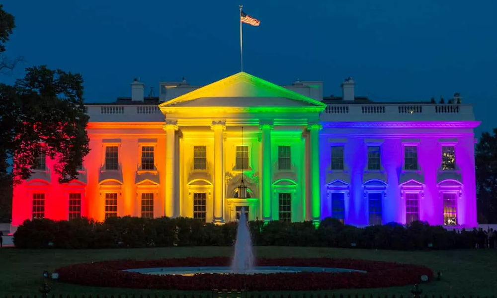 One part of the White House being illuminated with rainbow colors in recognition of the supreme court decision regarding same-sex marriage, on 26 June 2015.
