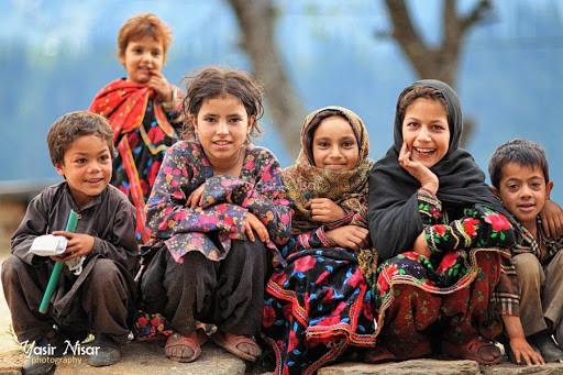 Kashmiri children posing for a photo.