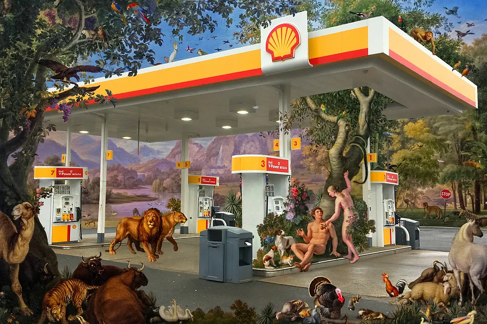 A creative illustration of a Shell gas station.