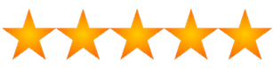 clip art image of 5 yellow-orange stars in a horizontal row, side by side.