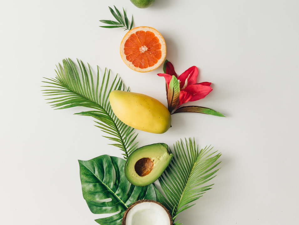 Creative layout made of summer tropical fruits and leaves.jpg Flat lay.jpg Food concept.jpg