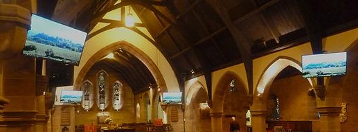 Panasonic screens distributed over CAT6e at Cardonald Parish Church