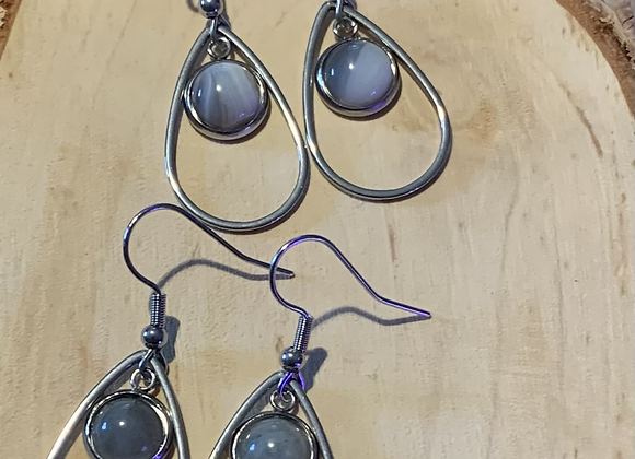 Stainless and 8mm Stone Earrings