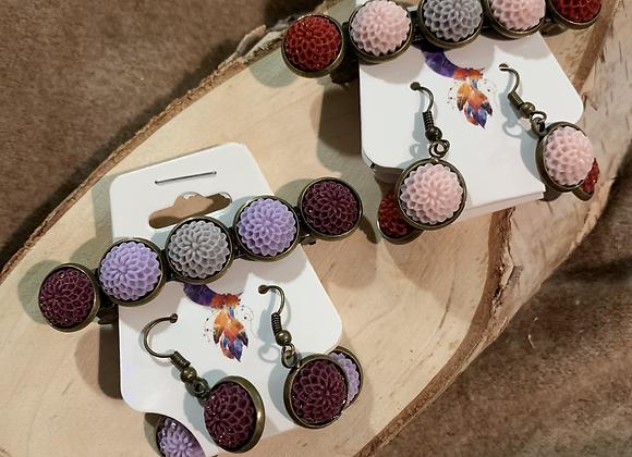 Bronze, Resin Flower, Earring and Barrette Jewelry set