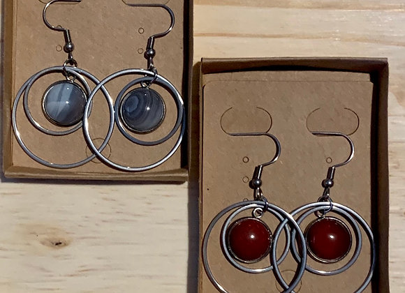 12mm Stainless Steel and Stone Earrings