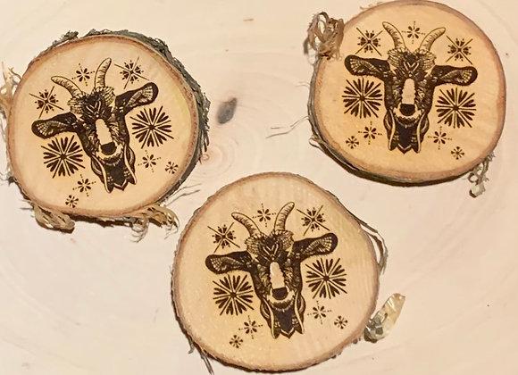 Wood engraved Goat Magnet