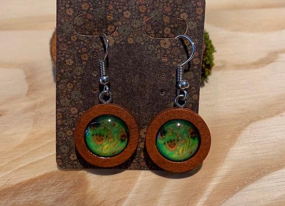 12mm green floral nickel free steel earrings
