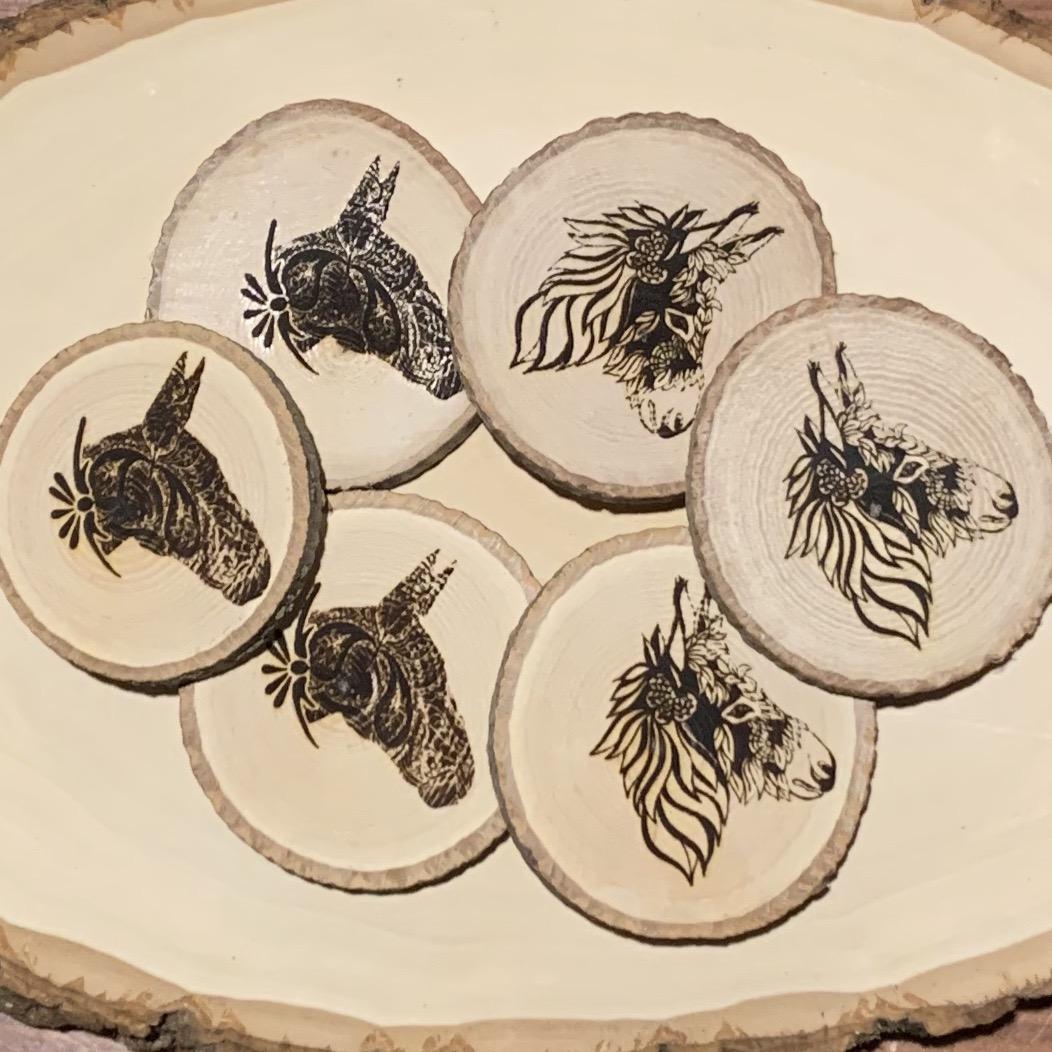 Wood engraved Donkey or Mule magnet