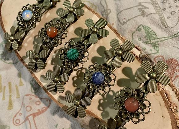 Bronze, Single stone, Flower, Barrette