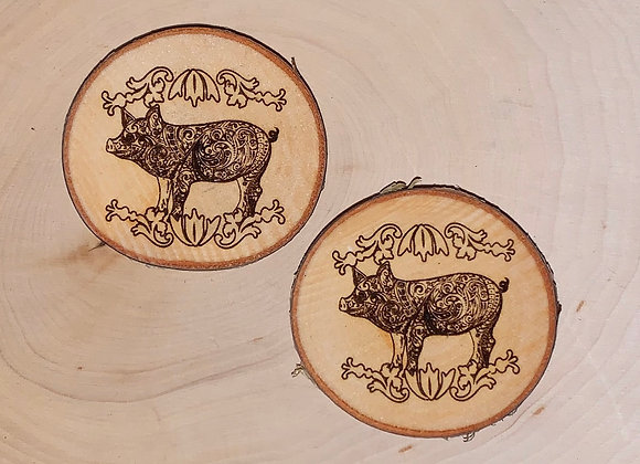 Wood engraved Pig Magnet