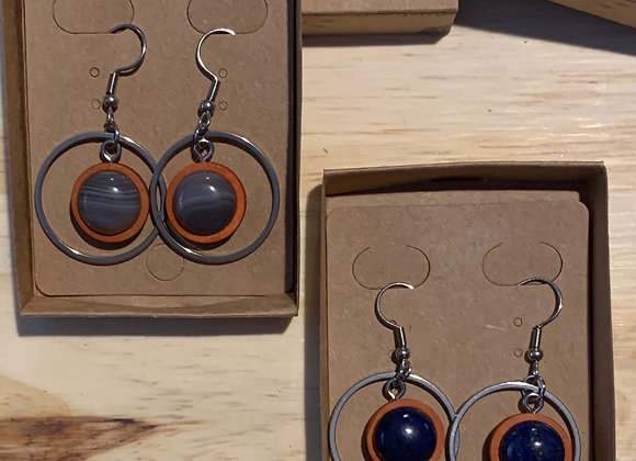 12mm Stainless Steel, Wood and Stone Earrings