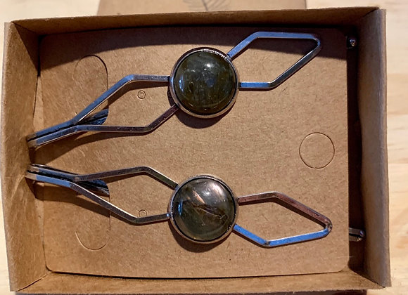 14mm Labradorite Silver Hair Pin set