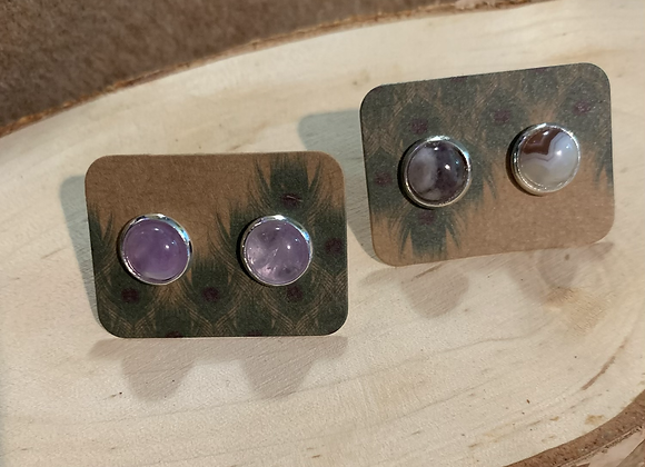 8mm Amethyst Stud Earrings