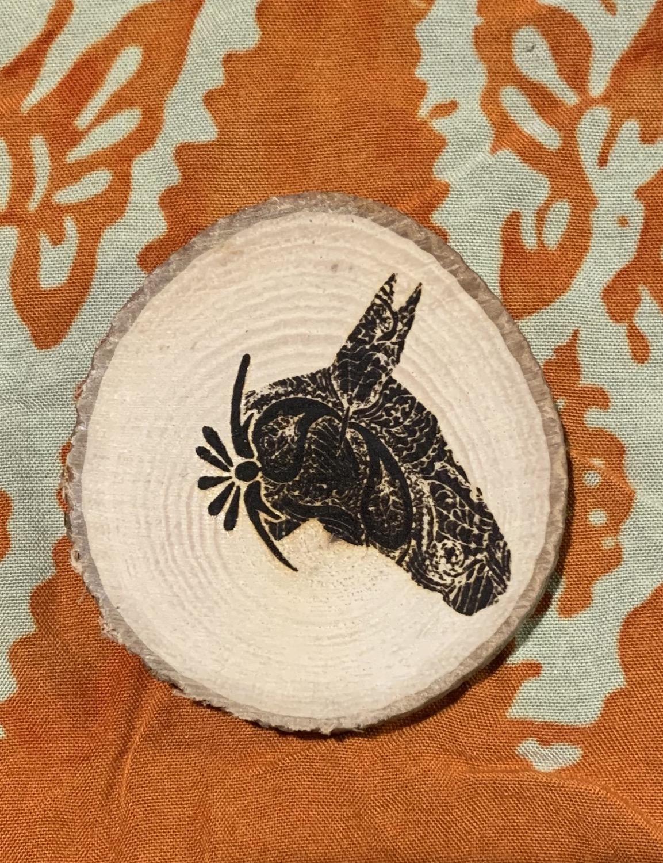Thumbnail: Wood engraved Donkey or Mule magnet