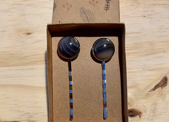 14mm Botswana Agate Silver Hair Pin set