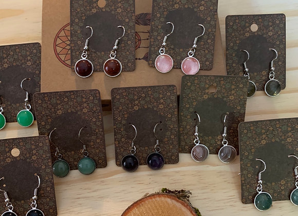 10mm Stainless and Stone Earrings