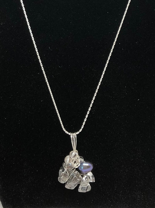 隕石、水晶、べビ-パ-ル、シルバ-925ワイヤ-ペンダント