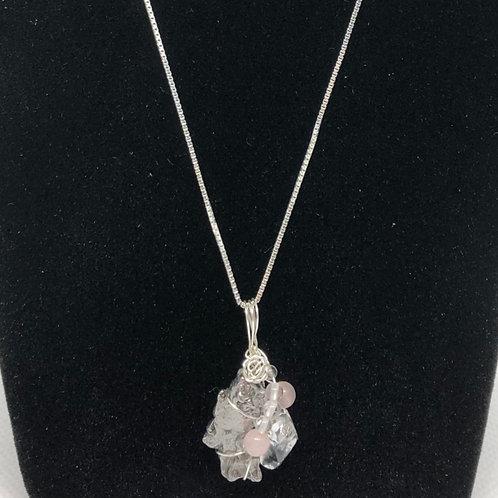 隕石、水晶、ロ-ズクォ-ツペンダント(Campo del Cielo)