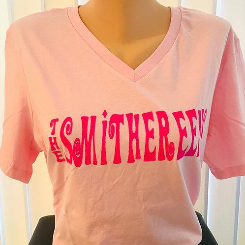 Woman's Cut V-Neck T-Shirt - Pink