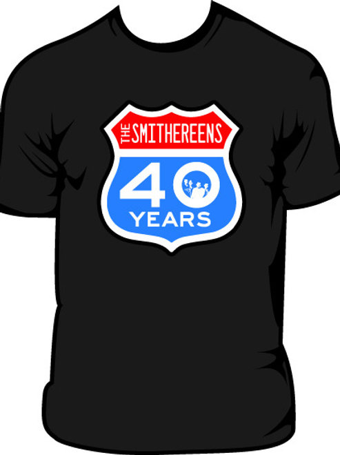 "Black ""40 Years"" Highway Sign 40th Anniversary T-Shirt"
