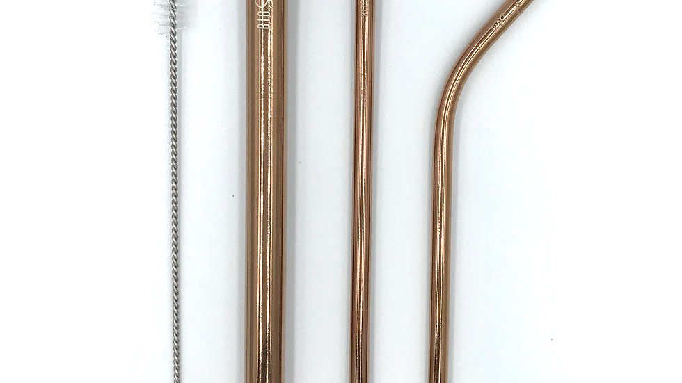 Stainless steel straw set- Rose Gold