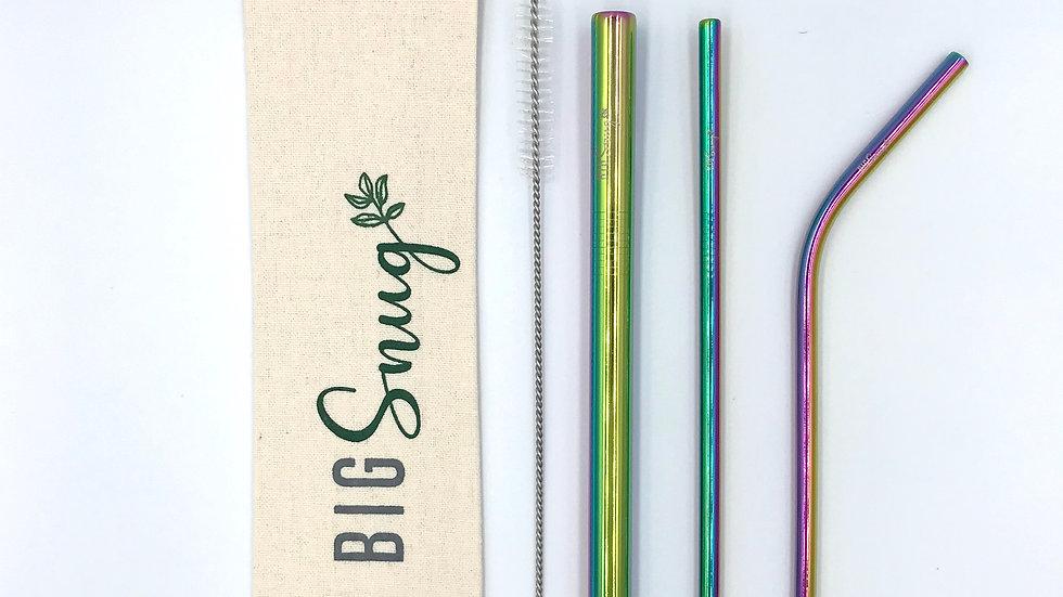 Stainless steel straw set-Rainbow