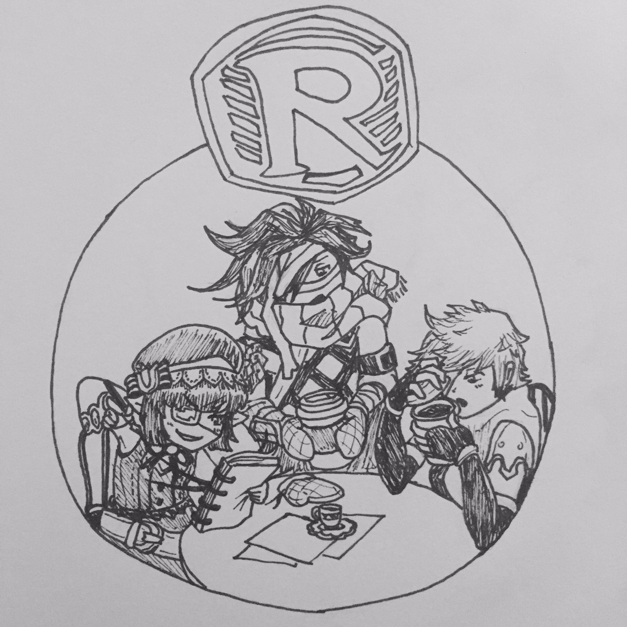Inktober Day 28: Dark R Pendant