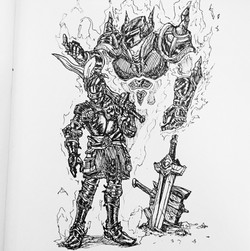 Inktober Day 13: Knight n Stand