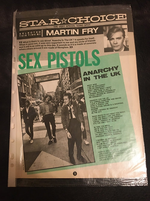 Sex Pistols magazine page insert