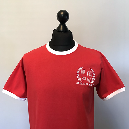 Red / white Ringer Tees Embroidered