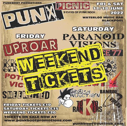 PUNX PICNIC WEEKEND TICKET Sat/Sun 17/18 June 2022 BLACKPOOL